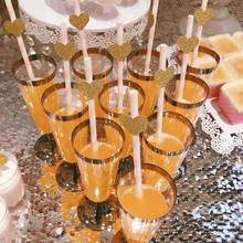 6pcs Disposable Plastic Red Wine Glass Champagne Flutes Glasses Cocktail Party Wedding Drink Cup Christmas Western Cuisine Cup