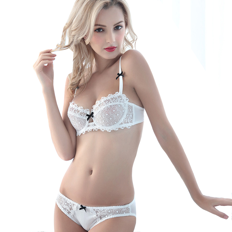 MINGMO 2018 Sexy Small Girl Bra Set Push Up Lace Ultra Thin Cup Transparent  1 2 Cup Lingerie Women Underwear Bra   Brief Sets 261f014702f
