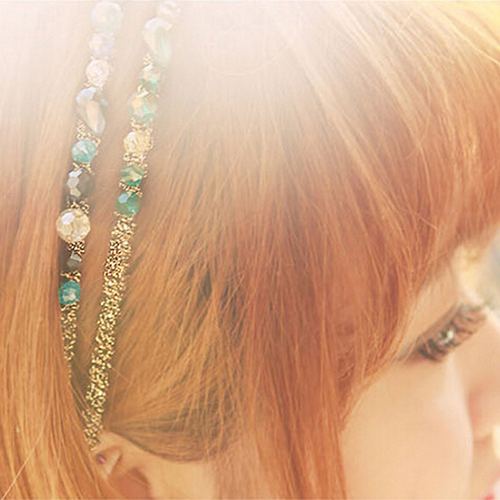 Colorful Fashion Irregular Crystal Beads Gold Wire Hairband Headband Hoop Accessories