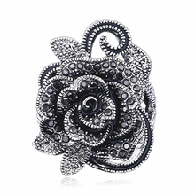 цена на 2019 retro ring Plated Silver Black Rose Flower Design Ring With Crystals Rhinestones Round party Rings For Women vintage J02806