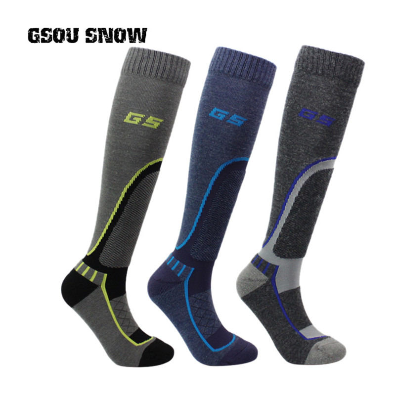 2017 winter men thermal sport ski socks thick warm knee chaussette de ski calcetines ciclismo hombre
