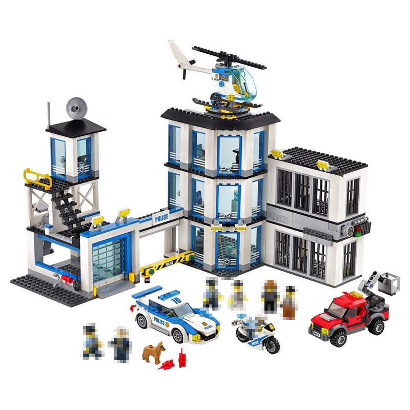 Lepin 02020 965Pcs City Series The New Police Station Set Building Blocks Bricks Model DIY Educational Toys For Children 60141 new lepin 16009 1151pcs queen anne s revenge pirates of the caribbean building blocks set compatible legoed with 4195 children