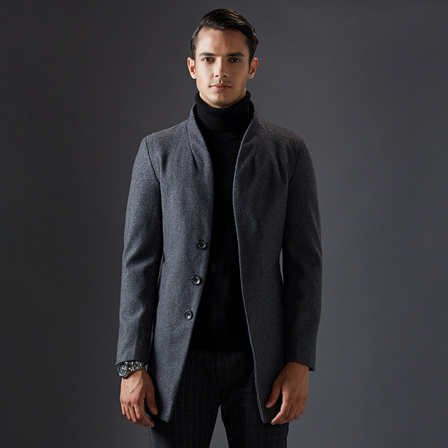New Long Único Breasted Mens Gola Homens Clássico de Inverno Casacos De Lã Casaco de Lã Grossa de Qualidade Elegante