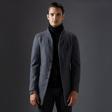 New Long Single Breasted Mens Stand Collar Wool Coat Thick Quality Elegant Men Winter Classic Wool Coats