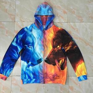 Image 3 - Ice and Fire by JojoesArt 3D Wolf Zipper Hoodies Unisex Zip Up Sweatshirts Men Hoodies Hooded Brand Cardigan Casual Drop Ship