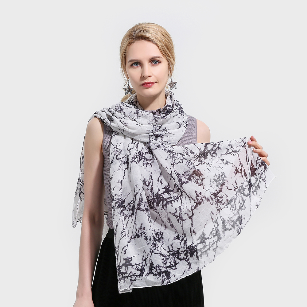 Winfox Fashion White Lightweight Soft Scarf Marmer Female Wrap Shawl Scarves Marble Women