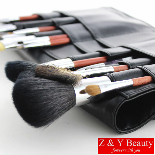 Free Shipping 18 pcs REDWOOD Handle Professional Makeup Brush Set,High Quality Goat Hair and Sable Hair with Waist Brush Bag недорого