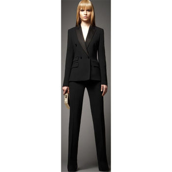 Bespoke Black Double Breasted Women Professional Business Suit Female Office Uniform Show Costume B166