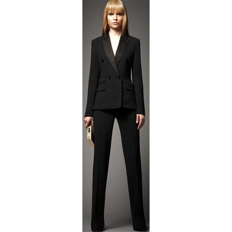 100% Kwaliteit Bespoke Zwart Double Breasted Vrouwen Professionele Pak Vrouwelijke Kantoor Uniform Tonen Kostuum B166