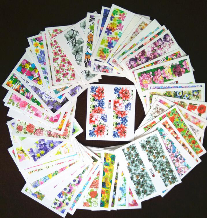 50 PCS Mixed Set Water Transfer Nail Sticker Art Decorations Mixed Flower Cartoon Summer Polish Gel Manicure Tips Set Nail Stick in Stickers Decals from Beauty Health