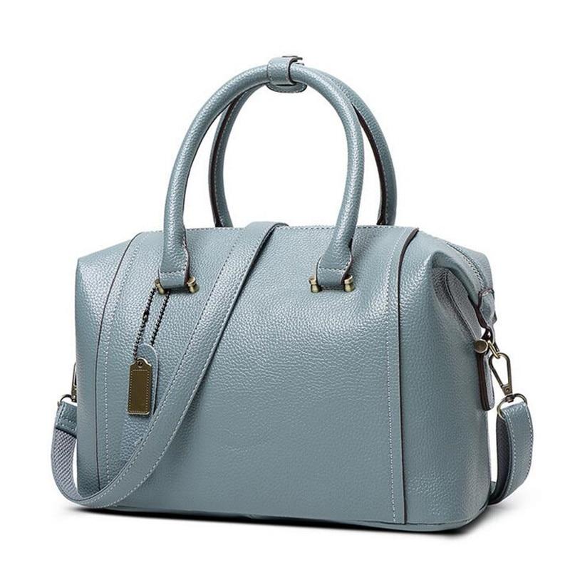 Luxury Geunine Leather Women Boston Tote Bag Pillow Handbag Ladies Messenger Bag