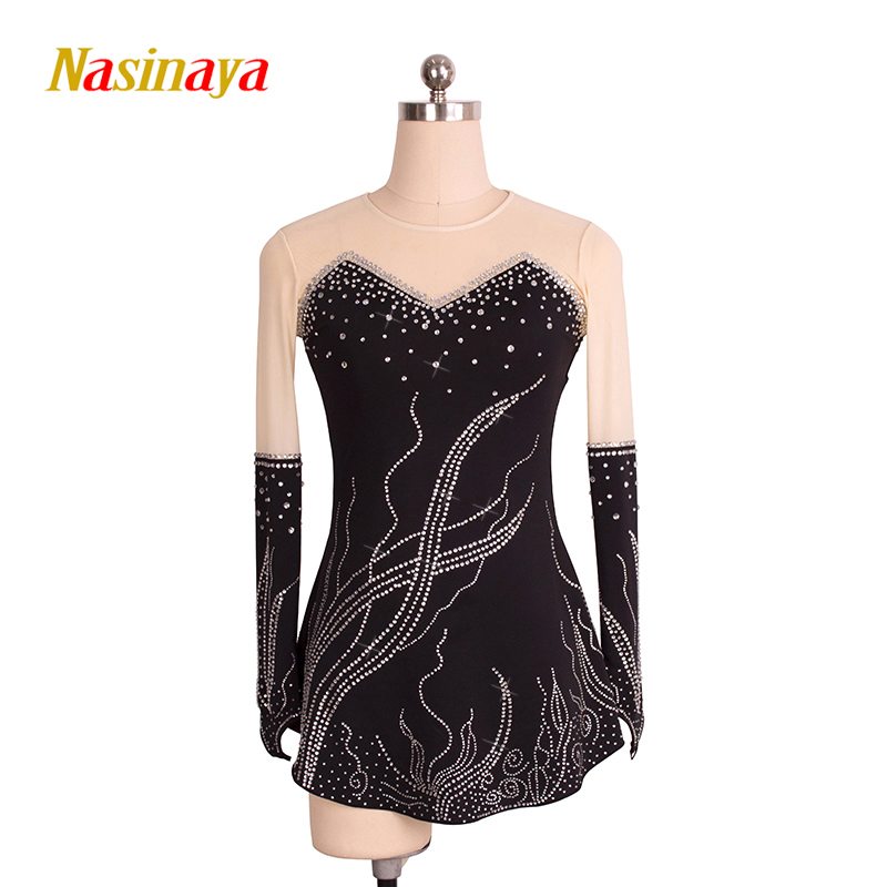 Customized Costume Ice Skating Figure Skating Dress Gymnastics Adult Child Girl Skirt Competition White Black Rhinestone Sequins pink black ice skating jackets for kids hot sale figure skating suits competition skating suits for children