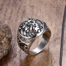 Mens Vintage Rings Stainless Steel Lion Head Rings in Silver-color Metal Rock Punk Style Gothic Biker Men Jewelry Aneis Anillos