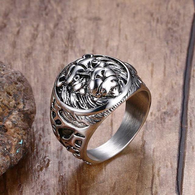 Mens Vintage Rings Stainless Steel Lion Head Rings in Silver color Metal Rock Pu