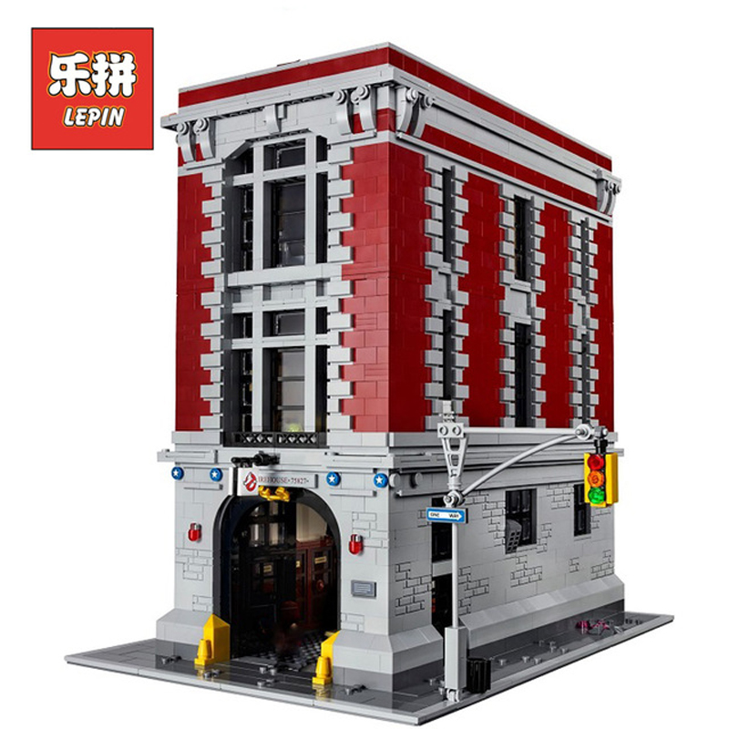 In Stock DHL Lepin Set 16001 4705Pcs Ghostbusters Figures Firehouse Headquarters Model Building Kit Blocks Bricks Kid Toys 75827 4695pcs lepin 16001 city series firehouse headquarters house model building blocks compatible 75827 architecture toy to children