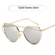 5b21bbdc284d4 2018 Stlye Verão Marca designer Rose Gold Espelho Olho de Gato Do Vintage  óculos de Sol Para As Mulheres de Metal Lente Plana Óc..
