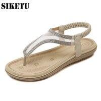Plus Size Bohemia Sandals Elastic Band Shoes Woman Fashion Rhinestone Mesh Flip Flops Beach Back Strap