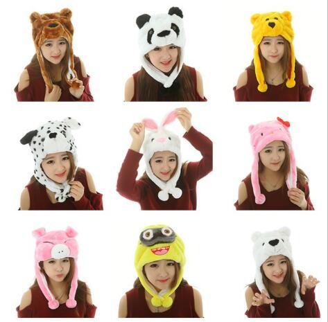 Cute Funny Plush Faux Fur Animal Stuffed Beanie Hood Hat Winter Adult Womens Mens Children Kids Boys Girls Warm Cosplay Costume
