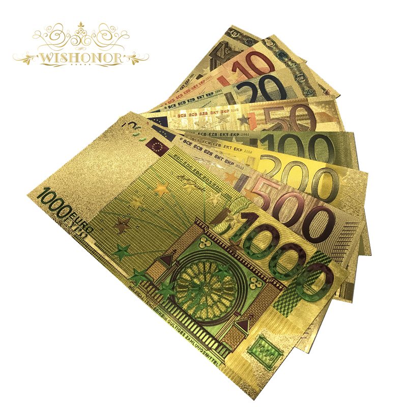 8pcs/lot Color Euro Banknote Sets 5 10 20 50 100 200 500 1000 EUR Gold Banknotes in 24K Gold Fake Paper Money for Collection