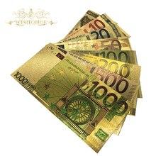 8 шт./лот наборы цветных евро банкнот 5 10 20 50 100 200 500 1000 евро золотые банкноты в 24-каратной Золотой поддельной бумаге для коллекции денег