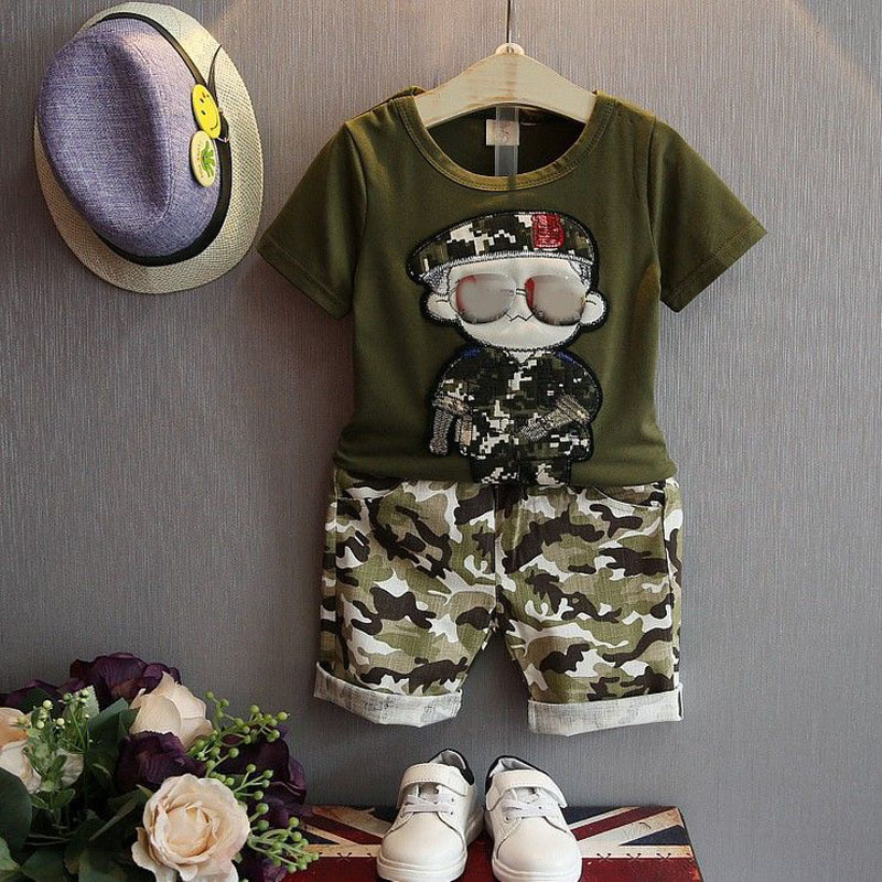 Fashion Baby Boys summer Clothes Set Kids Sports Suits 2pcs Short Sleeves T-Shirt Children Toddler Suit Camouflage Shorts 2-3Ys