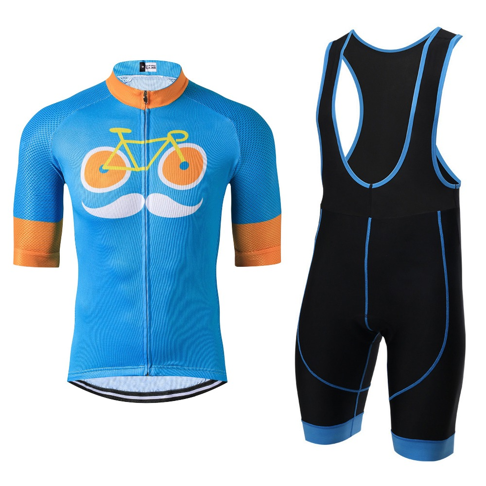 dbd00da97 Moustache Pro Team Men Cycling Clothing Maillot Cycling Jersey Sets Ropa  Ciclismo Bike Sports Gel Pad Bib Shorts Kit Blue