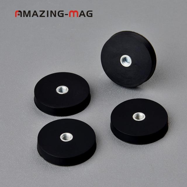 4 PC 8.5 KG puissant disque aimant néodyme avec caoutchouc chiffré D32 * 6mm M5 bande de roulement interne LED panneau caméra Multi usage magnétique Pot