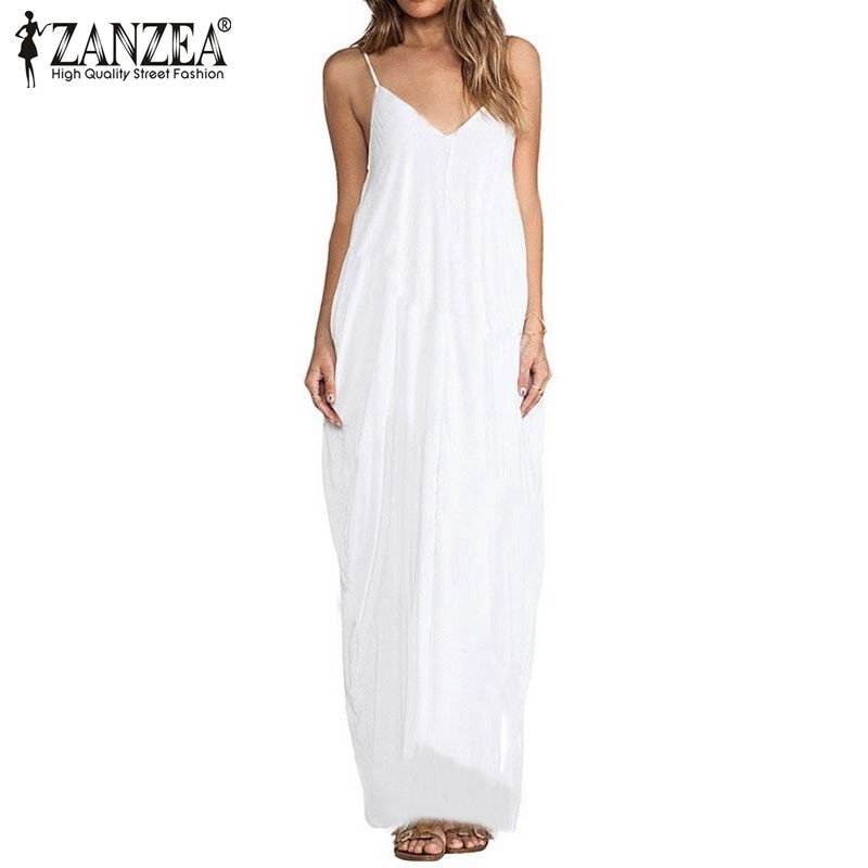 Buy Cheap Vestidos 2017 Summer Style Women Boho Strapless Sexy V Neck Sleeveless Dress Casual Loose Long Maxi Solid Dress White Oversized