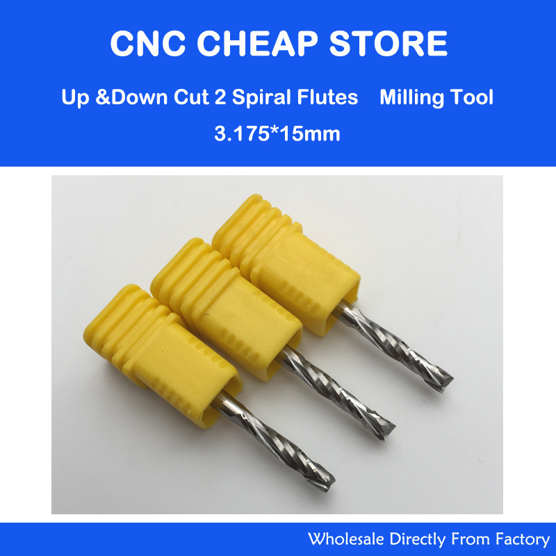 3p 3.175x15MM Up & Down Cut 2 Flute Double Spiral Carbide CNC Mill Tools,CNC Milling Cutter,Woodworking Cutting Tools Router Bit 5pcs woodworking 3 flute shank 6mm cnc router bits mill spiral cutter tungsten carbide density board carving tools cel 22mm