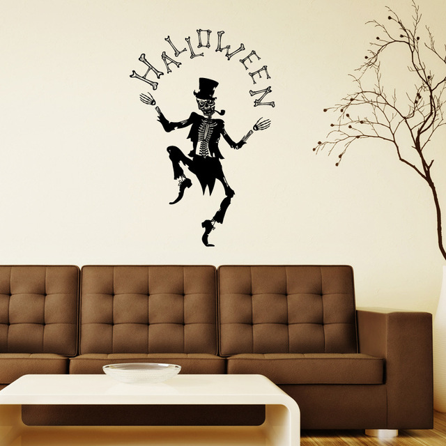 AWOO Popular Dancing Skull Wall Sticker Decal Halloween Festival - Vinyl wall decals home party