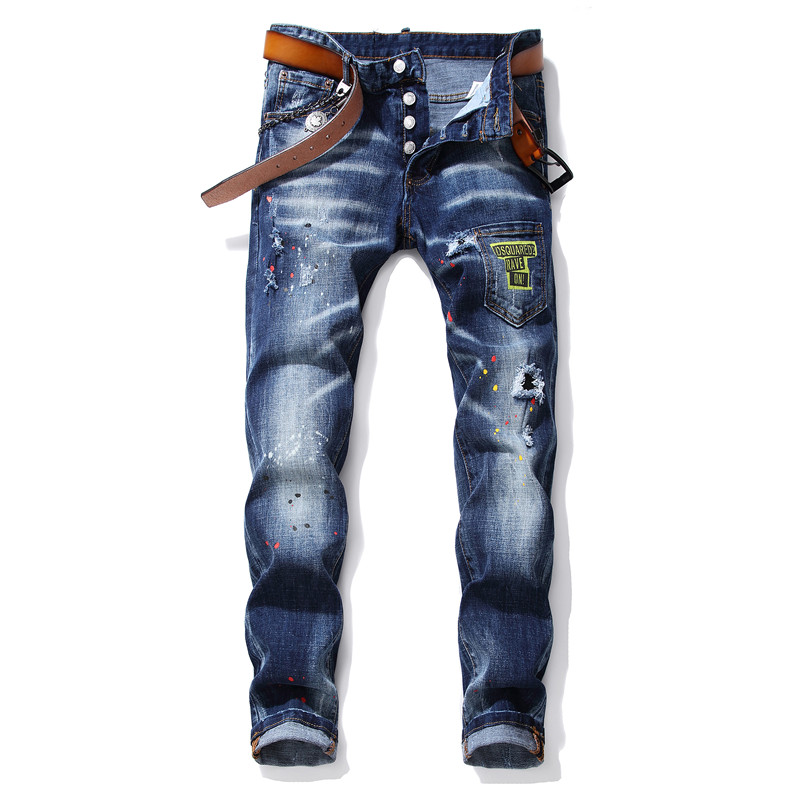 New Mens Jeans Stretch Ripped Skinny Jeans Men Blue Printed Pants Male Trousers Clothes Streetwear Spring Autumn Winter Hip Hop