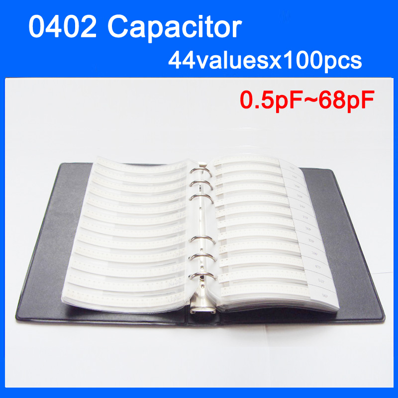 Новый 0402 SMD конденсатор книга образцов 44valuesx100шт = 4400 шт 0.5pF ~ 68pF набор различных конденсаторов