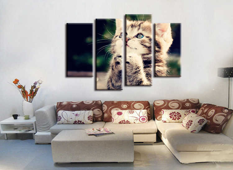 4 pieces / set  HD Print Wall Canvas Paintings Cat Art With  Animal Poster For Living Room