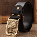 2017 Retro solid brass eagle plate buckle genuine leather belt men's girdle cowboy casual designer strap wide belt black jeans