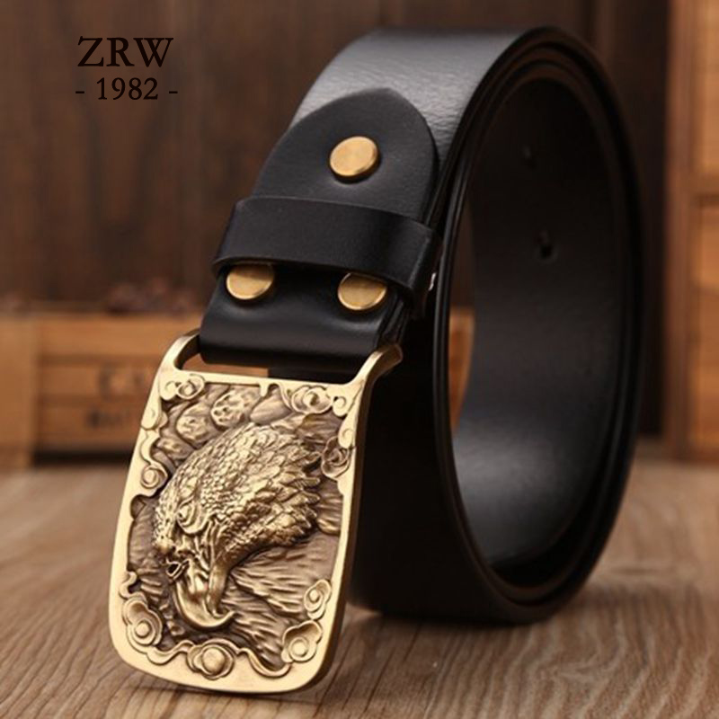 2018 Retro solid brass eagle plate buckle genuine leather belt mens girdle cowboy casual designer strap wide belt black jeans