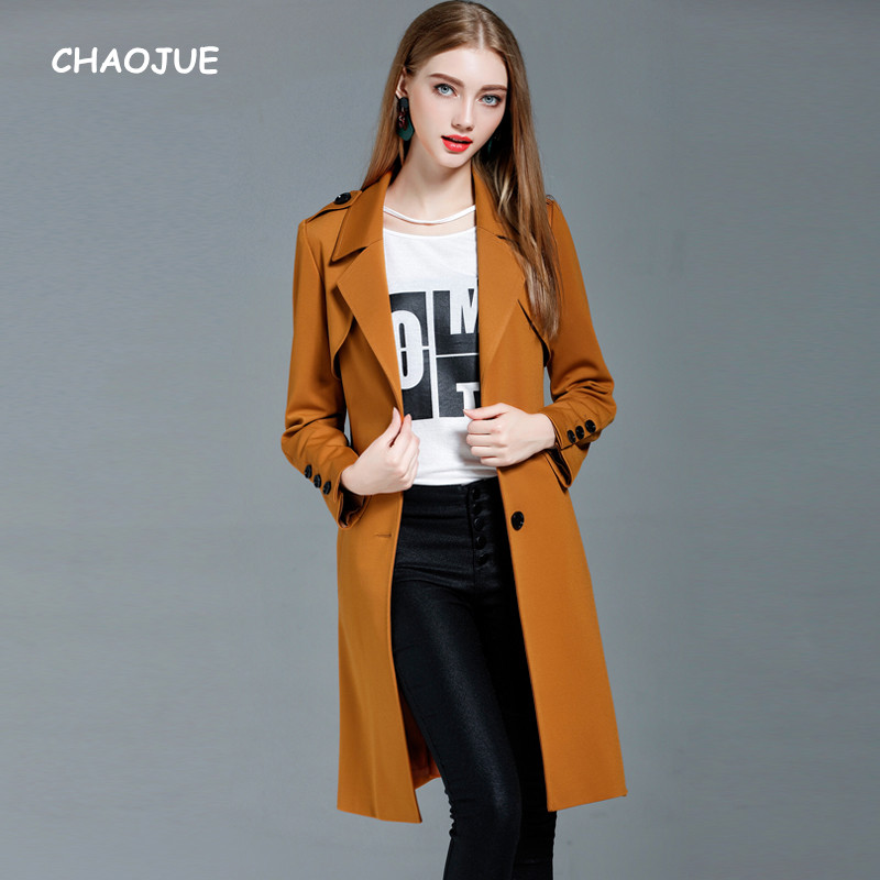 CHAOJUE Top Quality Polyester Knit Coat for Women Single Breasted Causal Pumpkin Colored Long Trench uk Girls Slim Pea Coat