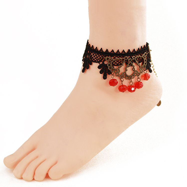 hollow leg in bracelet pendant beads sandals anklet ceramic jewelry lot women ankle leaf pieces color anklets gold item charm foot barefoot from