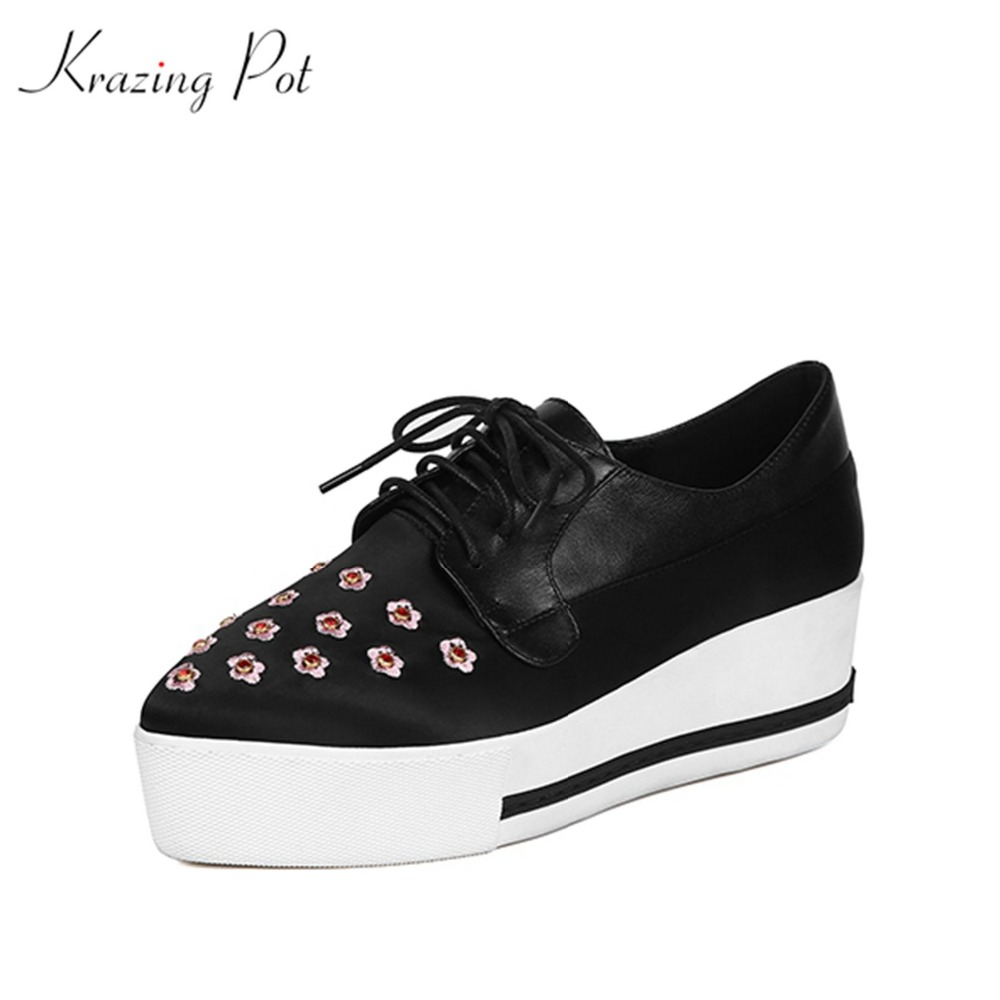 Krazing Pot 2018 new arrival lace up med heel solid pointed toe embroider British school Oxford wedding party pumps shoes L16