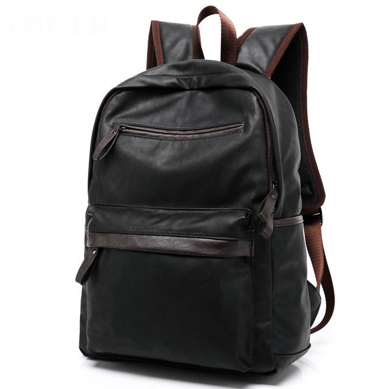 High quality leather men backpack shoulder bag Schoolbag computer Travel bag women backpack S067  цена и фото