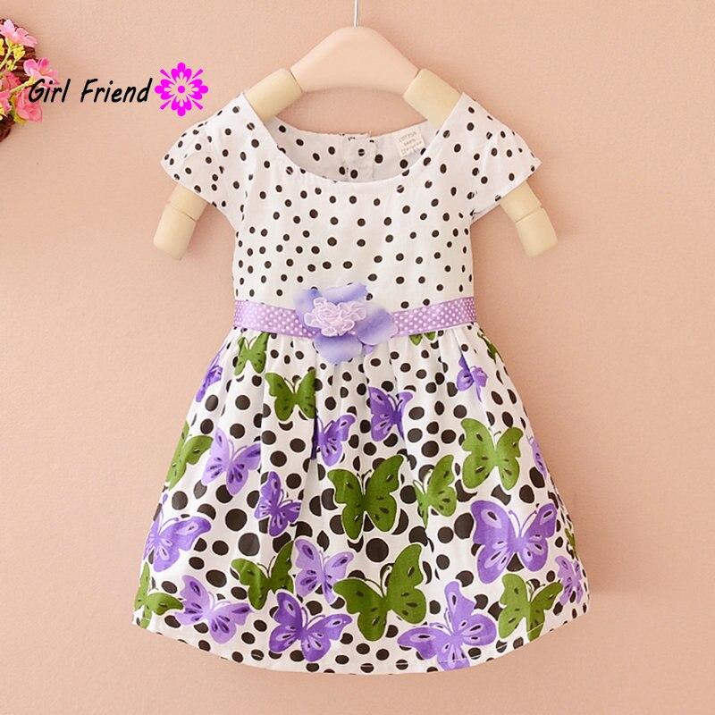 Summer Baby Girls Kids Short Sleeve Dress Polka Dots Butterfly Princess One-piece Dresses baby girls short sleeve dress girls kids polka dot dress clothes overalls dress