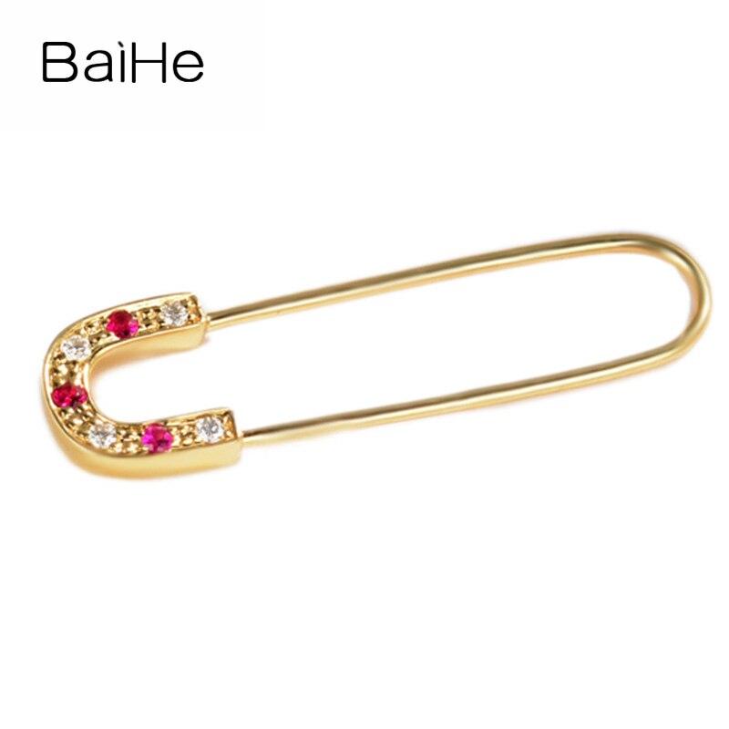 BAIHE solide 14 K or jaune 0.03ct H/SI 100% véritables diamants naturels fiançailles femmes à la mode bijoux fins cadeau boucles d'oreilles