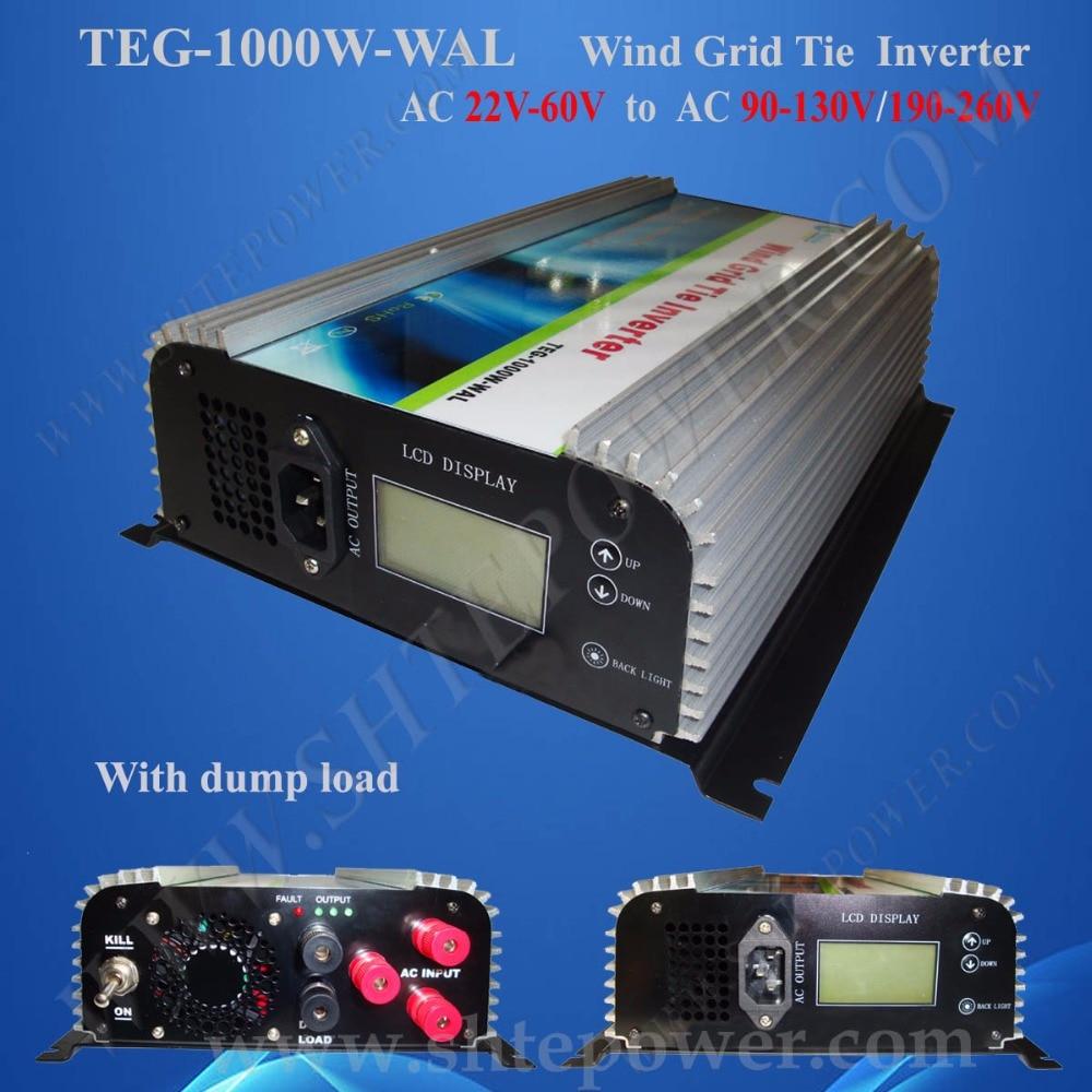 1kw 1000w grid tie inverter 3 phase wind inverter with lcd