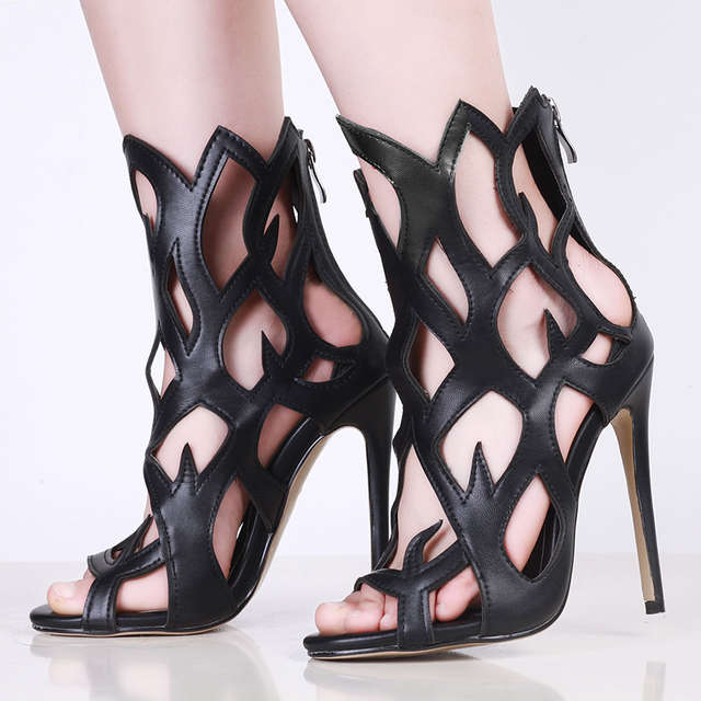 c94a070adc2 Online Shop Patent Leather Peep Toe High Heels Cut-outs Women Sandals Shoes  Woman Back red Zipper Charming Cover Heels Shoes size 3.5-14