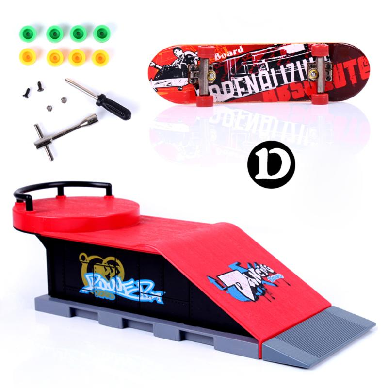 Kids Skate Park Plastic ABS Skate Park Funny Game Toy Gift Ramp Parts for Fingerboard Finger Board D
