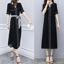 цена Spring and summer new style Fashion and temperament Korean dress Mid-length female black v-neck dress
