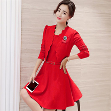 DoreenBow Hip Pack Sexy New Fashion Autumn Style Dress O Neck Sashes Red Black Office Formal Dress Jacket Suit, 1 Set