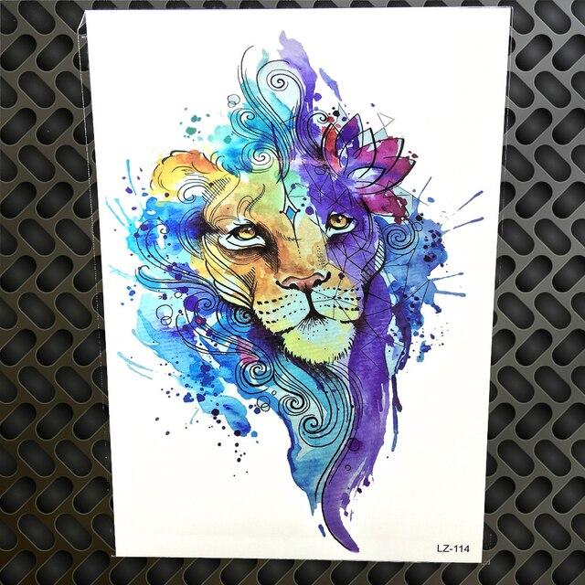 Tatuaje Temporal De León De Geometría Azul Para Mujeres Acuarelas A