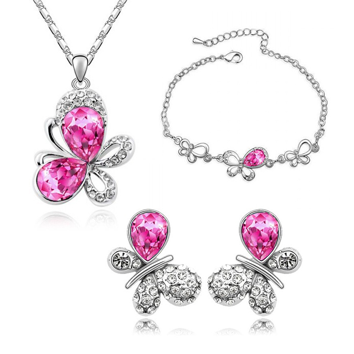 Crystal White Gold color Plated Rhinestone Butterfly Fashion Jewelry Sets Make With Swan s ABC