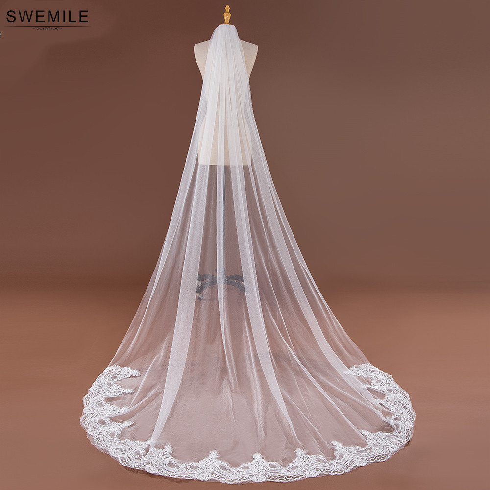 SWEMILE 3M Lace Edge Long Wedding Veil White Ivory One Layer Soft Tulle Bridal Veil Velo de Novia Wedding Accessories