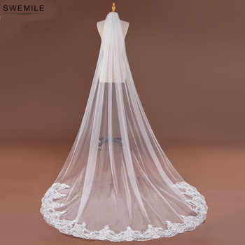 SWEMILE 3M Lace Edge Long Wedding Veil White Ivory One Layer Soft Tulle Bridal Veil Velo de Novia Wedding Accessories - DISCOUNT ITEM  27% OFF All Category
